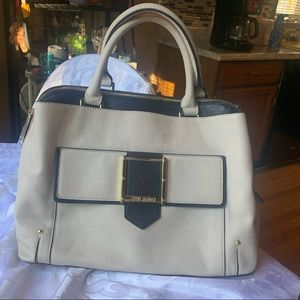 Steve Madden tote size purse with gold gold buckle